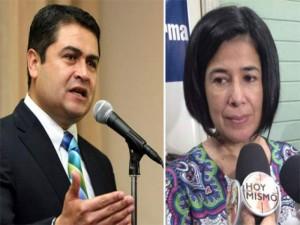 El presidente Juan Hernández y la directora de la DEI, Miriam Guzmán.