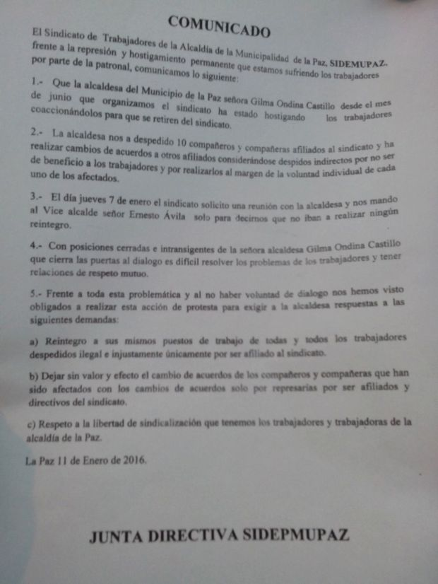 comunicado SIDEMUPAZ